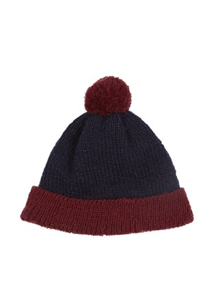 Colour Block Bobble Hat in Navy