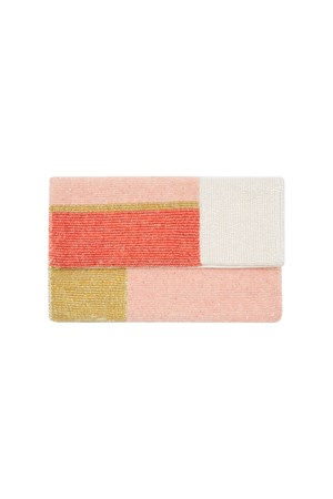 Colour Block Clutch in Coral