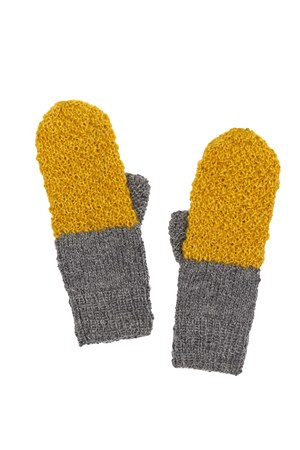 Colour Block Mittens in Yellow