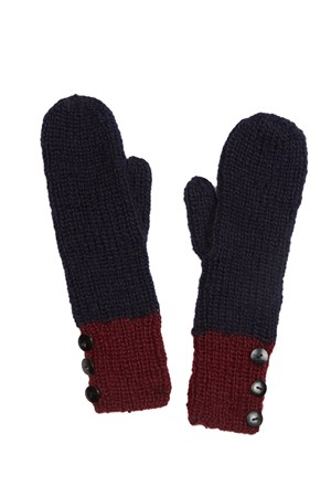 Colour Block Mittens in Navy