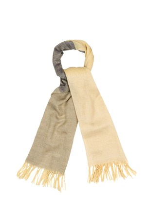 Colour Block Wool Scarf in Beige