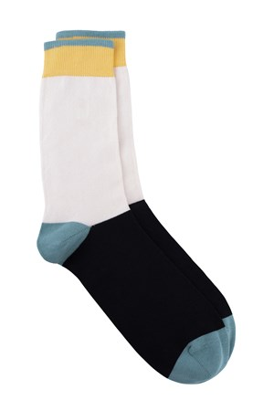 Colourblock Socks In Black & Green
