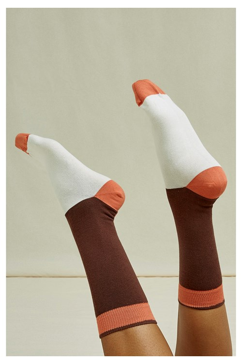 Colourblock Socks in Brown