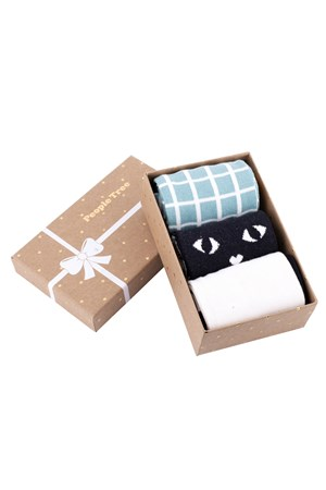 Green Patterned Socks Set of 3 in box