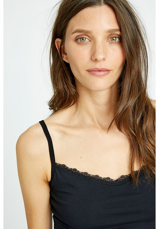 Hidden Support Lace Trim Camisole in Black from People Tree