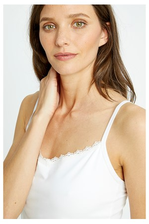 White Hidden Support Lace Trim Camisole