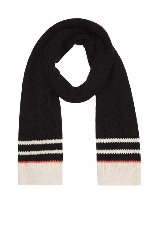 Knit Stripe Scarf Black from People Tree