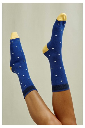 Mini Dot Socks In Blue