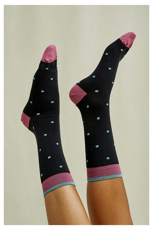 Mini Dot Socks In Mauve
