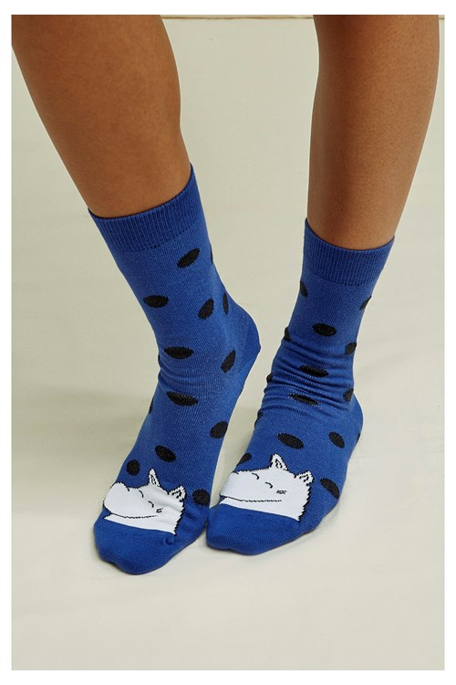 Moomin Dot Socks Navy