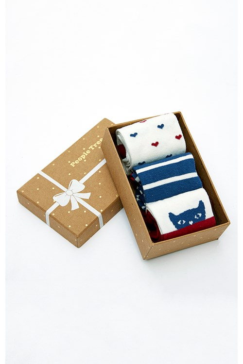 Navy & Red Patterned Socks Set of 3