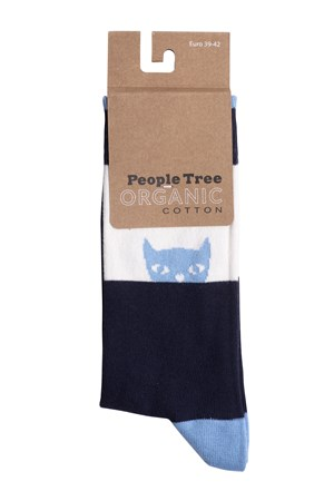Peeking Cat Socks In Blue