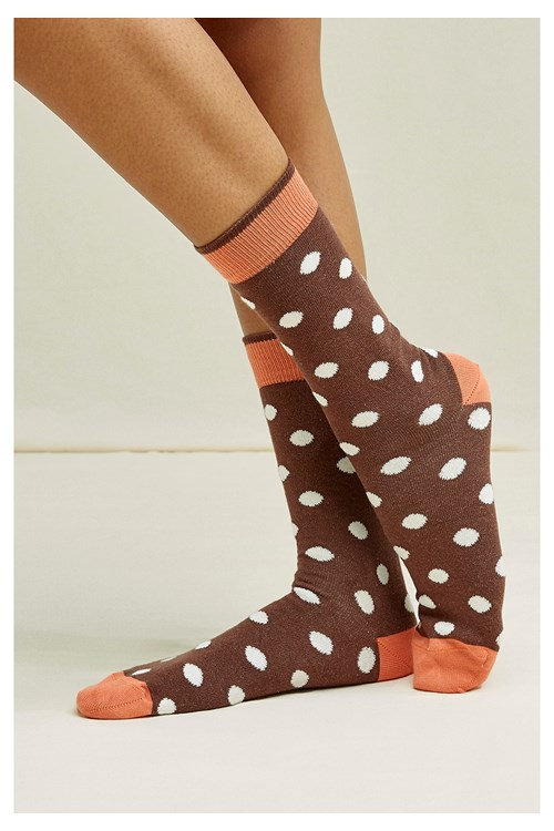 Polka Dots Socks in Brown