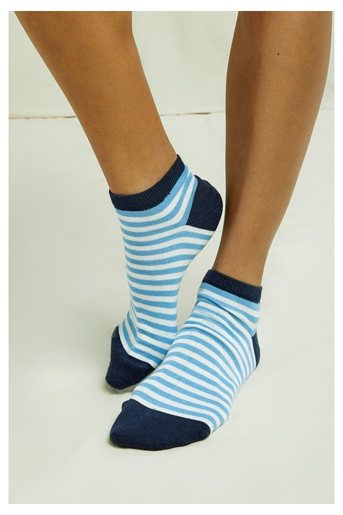 Stripe Trainer Socks In Blue