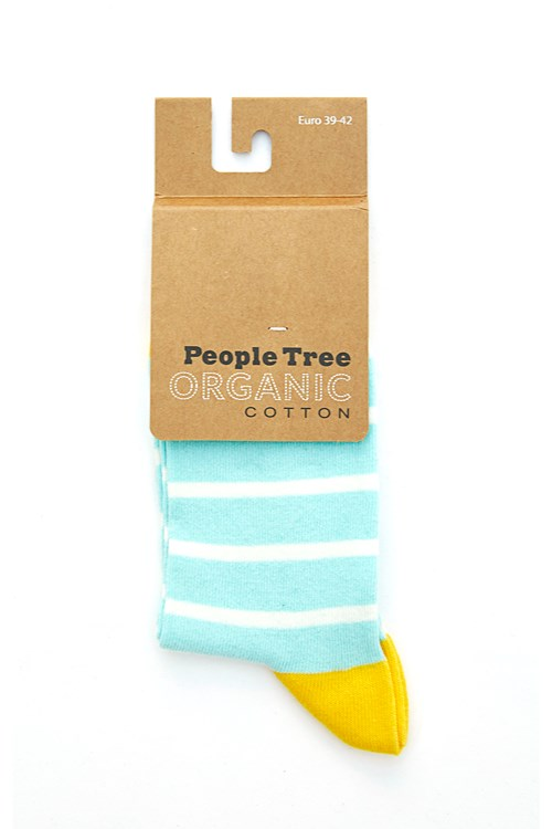Striped Socks in Ice Blue and Yellow