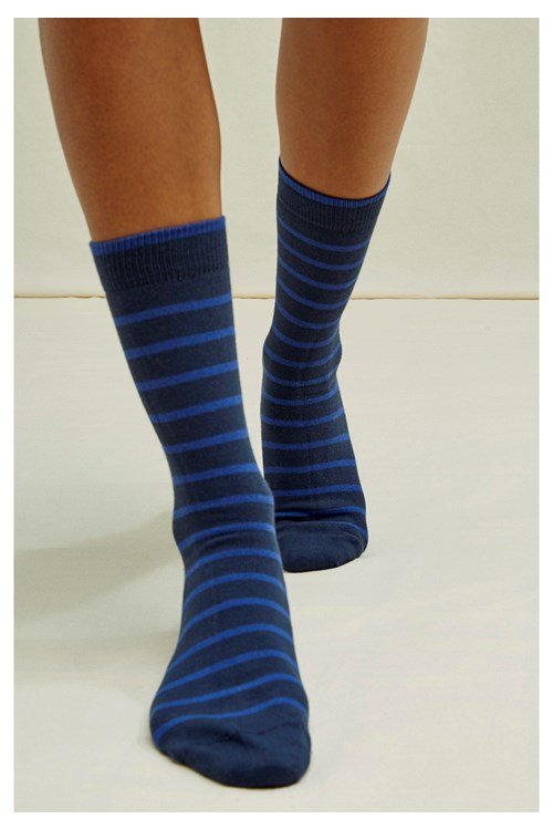Striped Socks in Navy