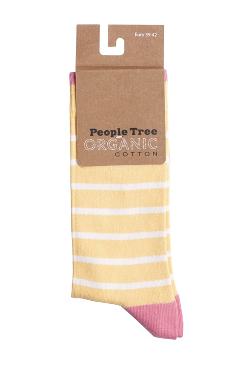 Striped Socks In Yellow & Pink