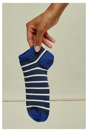 Striped Trainer Socks In Blue