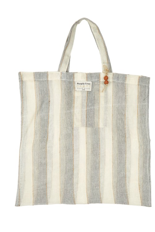 Wide Stripe Jute Tote Bag in Natural from People Tree