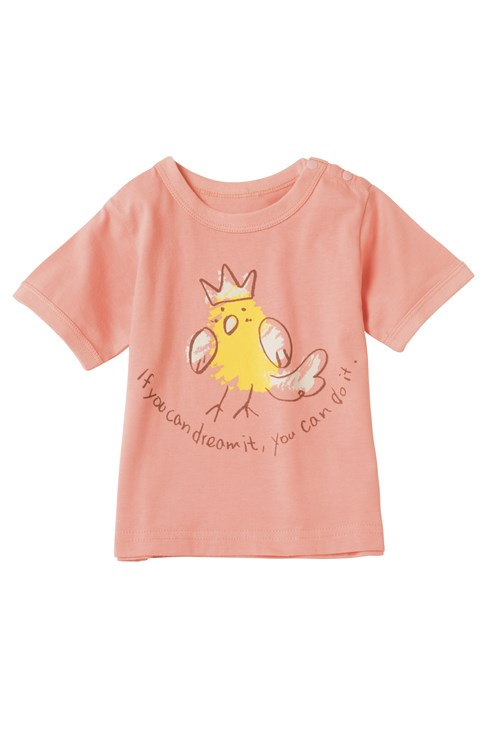 Dreaming Bird Tee in Pink 3-6 from People Tree