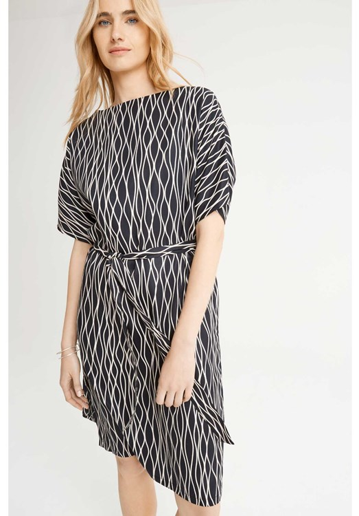 Alaina Abstract Dress in Black from People Tree