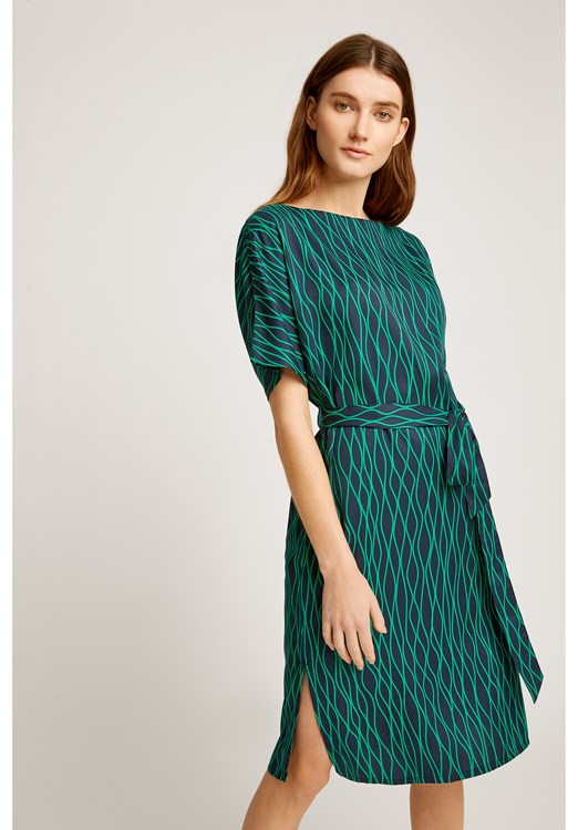 Alaina Abstract Dress in Green from People Tree