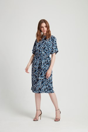 Alaina Dress in Navy Multi