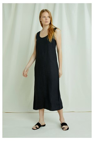 Alana Linen Dress In Black