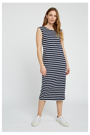 Amelia Stripe Dress in Navy