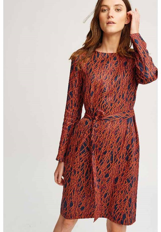 Anita Abstract Dress Navy and Red