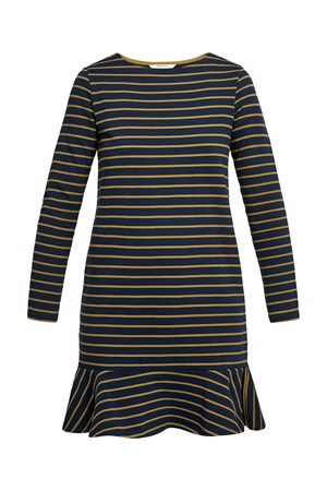 Anoushka Stripe Dress in Olive Green and Navy Blazer