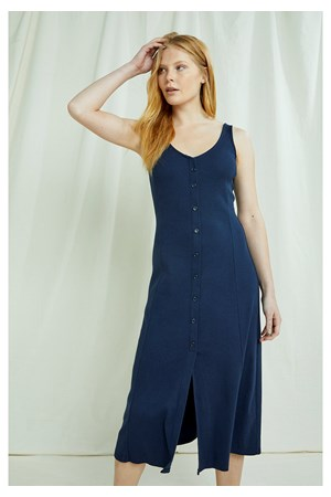 Anya Rib Dress In Navy