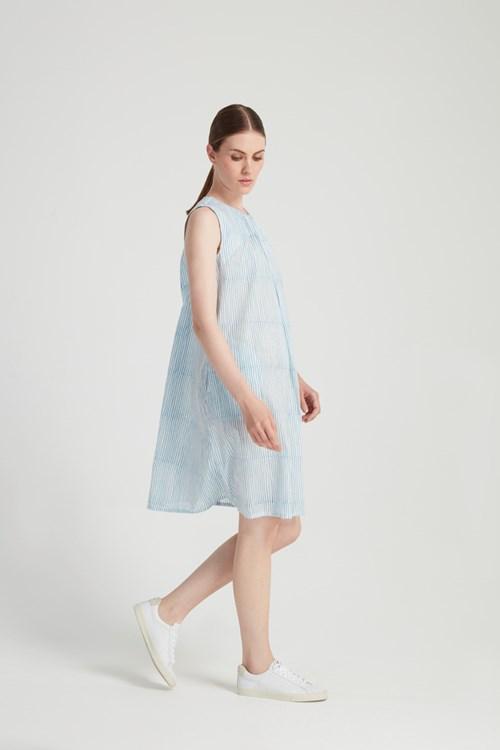 Block Stripe Dress in Blue from People Tree