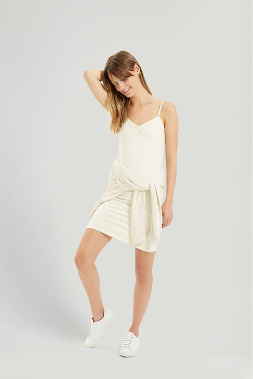 People Tree Camisole Slip Dress In Cream