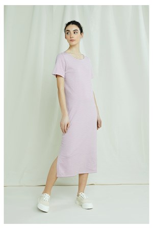 Darika Stripe Dress In Pink