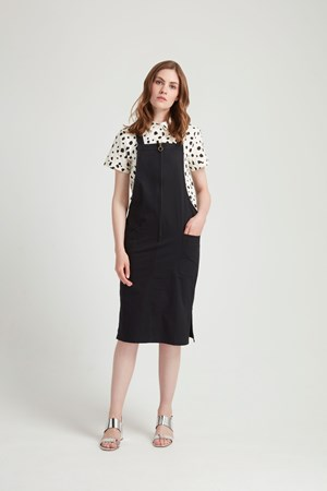 Dominika Pinafore Dress in Black