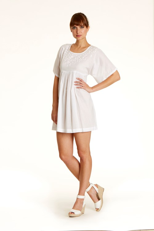 Ebba Tunic Dress in White from People Tree