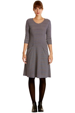 Ellen Stripe Dress in Navy