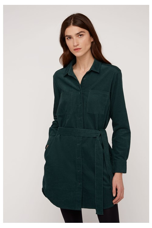 Franca Corduroy Shirt Dress in Green