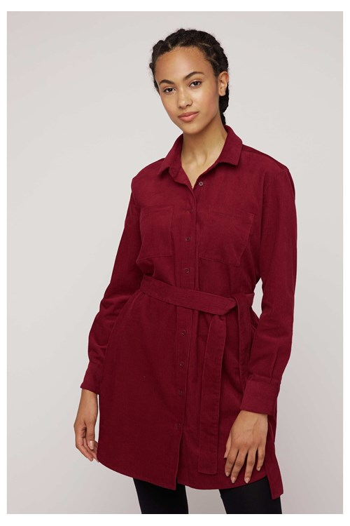 Franca Corduroy Shirt Dress in Red from People Tree