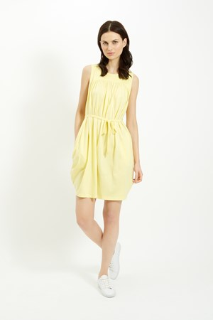 Gathered Tie Dress in Yellow