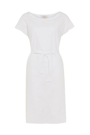 Hannah Embroidered Dress in Eco White