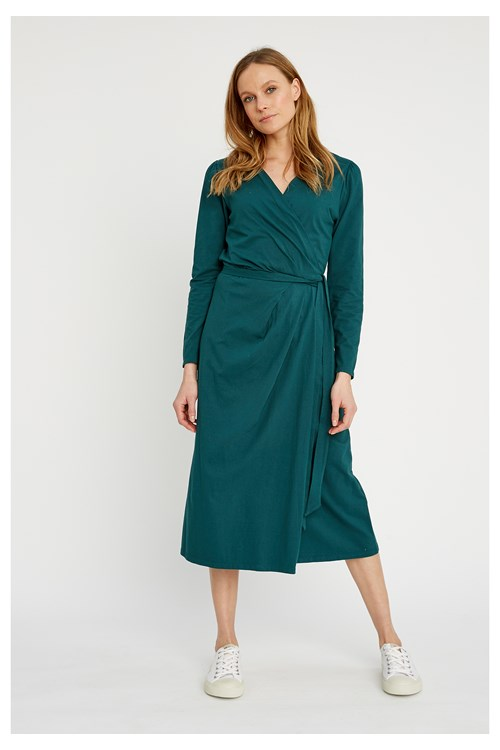 Imogen Wrap Dress in Green