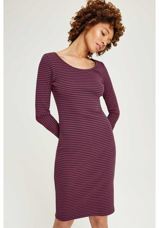Inez Stripe Dress Navy and Red from People Tree