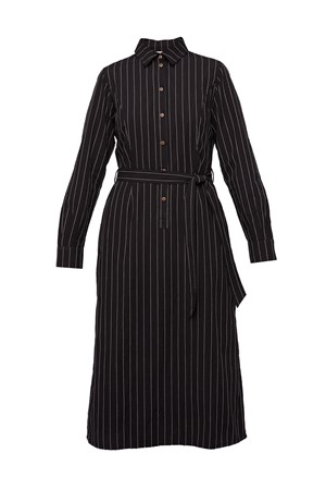 Isadora Pinstripe Shirt Dress in Black