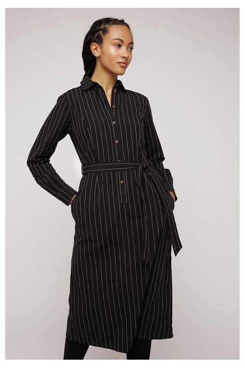 Isadora Pinstripe Shirt Dress in Black from People Tree