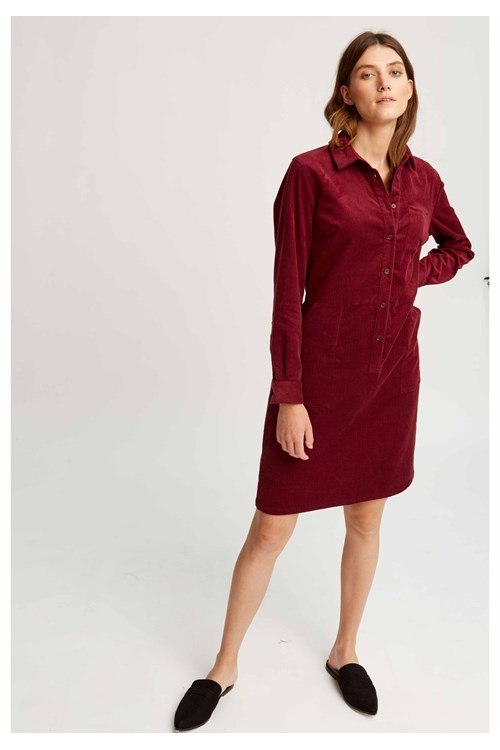Jaden Corduroy Shirt Dress Burgundy