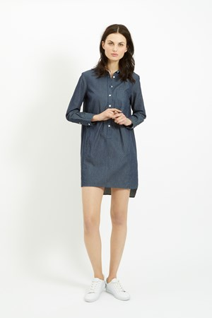 Kendall Dot Shirt Dress in Blue