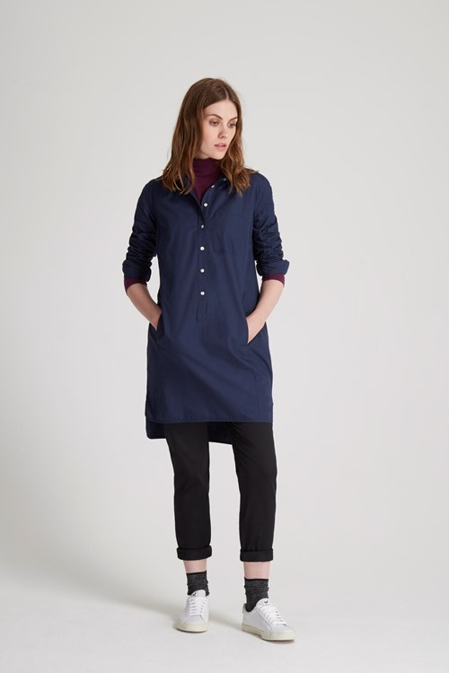 Kendall Shirt Dress in Navy