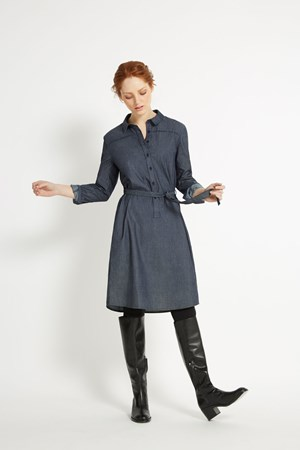 Laurel Chambray Shirt Dress in Blue